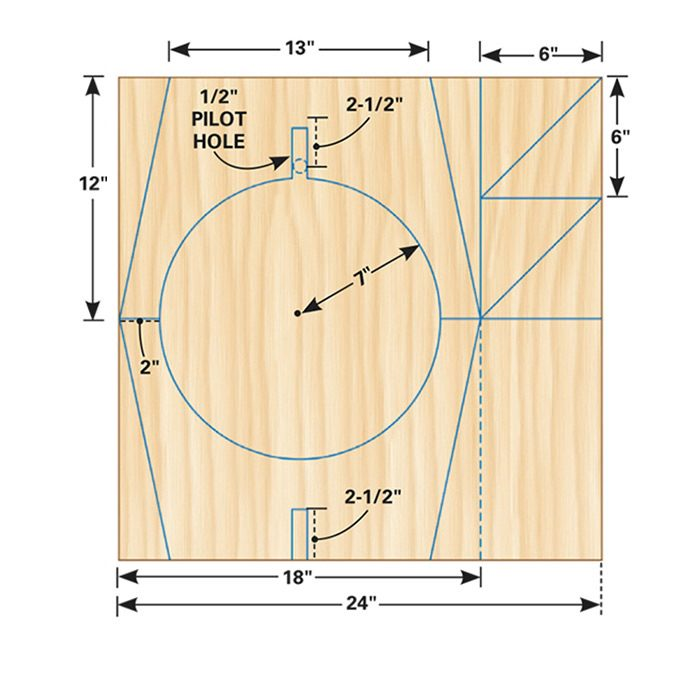 <b>Figure A:</b> Jigsaw stool plywood layout (short version)