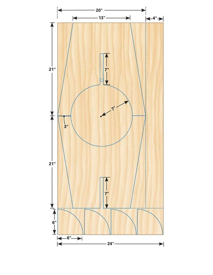 <b>Figure B:</b>Jigsaw stool plywood layout (tall version)