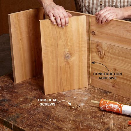 <b><b>Photo 2:</b> Install the dividers</b></br> Fasten the dividers to the bottom, and then add the sides. Join all the parts with both adhesive and trim-head screws. Scrape any excess adhesive with a putty knife.