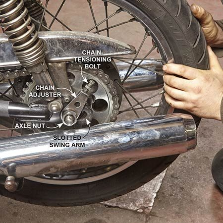 <b>Photo 3: Relieve chain tension</b></br> Put a socket or wrench on the axle nut and loosen it. Then unscrew the chain-tensioning bolt, raise the adjuster and push the rear wheel completely forward in the slotted swing arm.