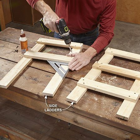 <b>Build the two side ladders</b></br> Photo 1: Cut the pieces to length, then glue and screw the crosspieces to the legs. Use a square to ensure the assemblies are square.