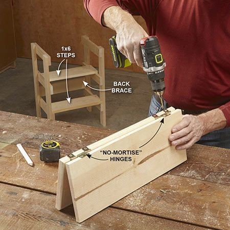 "<b>Put it all together</b></br> Photo 2: Attach the two steps and the back brace to the ladder sides. Use hinges to join the two top pieces, then secure one of the boards to the top ""rungs."""