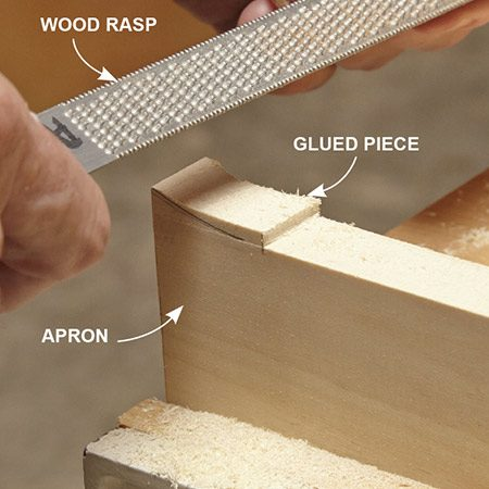 <b>Photo 7: Create arches</b></br> <p>Shape arches from small pieces glued to the table's apron. With so little wood to remove, just use a rasp and sandpaper.</p>