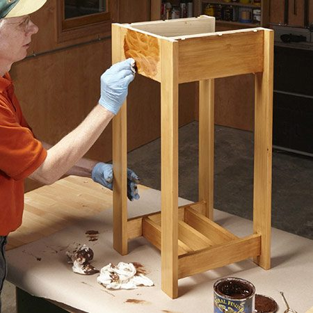 <b>Photo 18: Stain and seal</b></br> <p>Seal the wood with two coats of poly, then use thin coats of gel stain. Plain poplar can look quite pretty!</p>