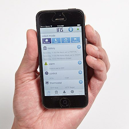 <b>Iris app on smart phone</b></br> <p>A central hub operates the devices in your home, and you control the hub with your smartphone, tablet or computer…from anywhere.</p>