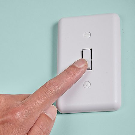 <b>Westek wall-mounted switch and plug-in receiver</b></br> <p>Install an inexpensive plug-in outlet that's controlled by a battery-operated remote that looks like a light switch. Stick the new switch on the wall where you want it and plug the lamp into the remote-controlled outlet—problem solved. A similar setup made for exterior use is perfect for your Christmas lights. This one is controlled by a key chain remote.</p>