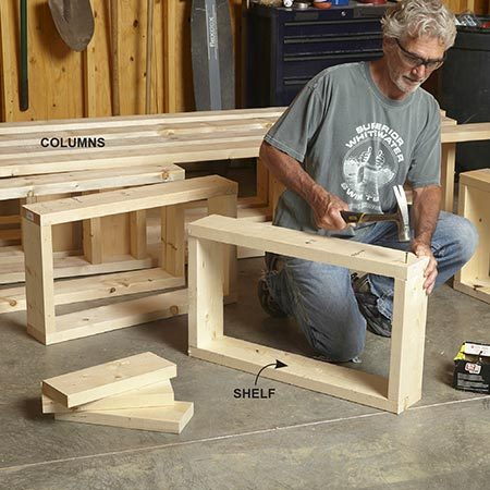<b>Photo 3: Build the frame</b></br> <p>Pick the straightest lumber for the long lengths and cut the parts. Mark the front and the back of the base and top for the column locations. Mark the column sides for the shelves. Then build the U-shape and box-shape backers and nail the parts together.</p>