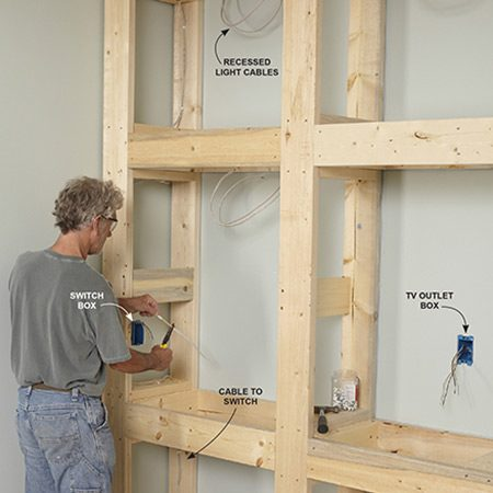 <b>Photo 8: Rough-in the electrical wiring</b></br> <p>Drill holes and run the cable to the switch box and then to the recessed light fixture locations. Leave at least 2 ft. of extra cable at each light. Secure the cables with 1/2-in. plastic staples.</p>