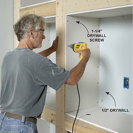 <b>Photo 9: Install the drywall</b></br> <p>Attach the drywall with screws. If you plan to caulk the back edges, get a tight fit between the drywall and wall. Shave off overhanging edges at the front so they don't interfere with corner bead installation.</p>