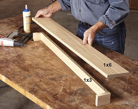 <b>Photo 1: Build the core of the shelf</b></br> <p>Build the three-sided 1x3 box so it fits over your door trim. The 1x6 shelf should overhang the ends the same amount as it does the front.</p>