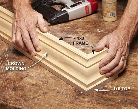 <b>Photo 2: Install the crown molding</b></br> <p>Cut and install the crown molding. Install the 3/4-in. cove molding along the edge of the top shelf, letting it protrude 1/4 in. upward to create a lip.</p>