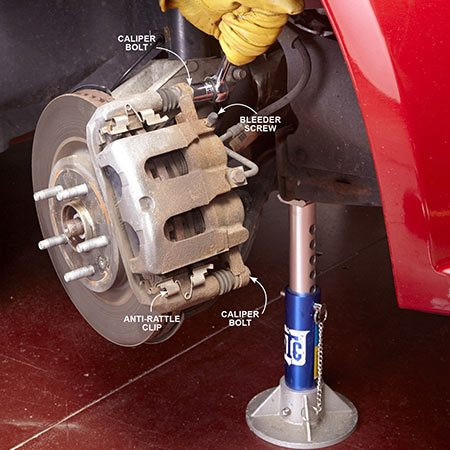 <b>Photo 1: Remove the caliper</b></br> <p>Loosen the caliper bolt heads with a ratchet. Then remove and store the rubber cap on the bleeder screw (if equipped) and loosen the bleeder screw with a box-end wrench. Reseat the bleeder screw and remove the caliper bolts.</p>