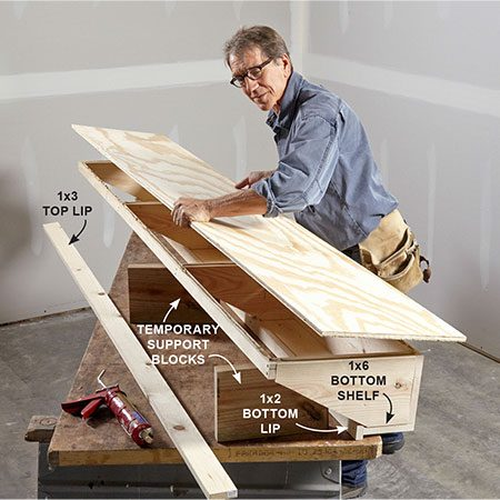 <b>Photo 3: Complete assembling the shelf</b></br> <p>Install the plywood top, bottom shelf and the 1x2 and 1x3 lips. Use construction adhesive for added strength.</p>