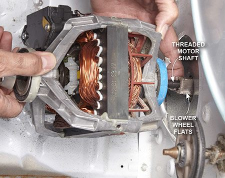 <b>Photo 4: Connect the blower wheel</b></br> <p>Tilt the threaded portion of the motor shaft down to mate it to the blower wheel. Then spin the shaft counterclockwise until it's snug. Hold the blower wheel with the adjustable wrench and tighten by turning the opposite end with a pump pliers.</p>