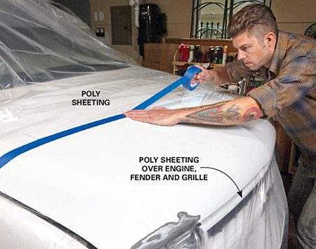 <b><b>Photo 1:</b> Mask off the repair area</b></br> Tape the leading edge of poly sheeting a few feet away from the repair so you'll have room to blend the touch-up paint into the good areas.