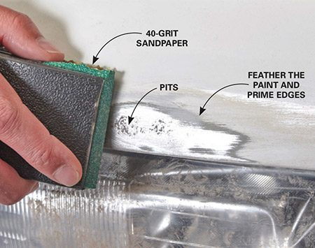 <b><b>Photo 2:</b> Remove the rust</b></br> Sand through the rust spots, down to bare metal. Then enlarge the sanded area so you'll have space to feather the edges. Switch to 120-grit sandpaper to feather the edges of the repair area. Complete the feathering with 220 grit.