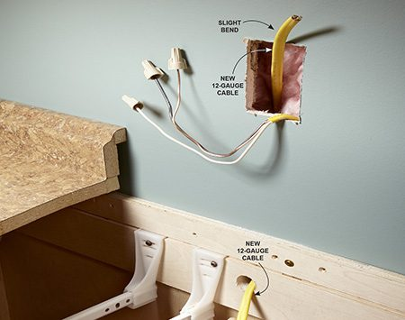 How to install electrical outlets in the kitchen the for How to fish wire through insulated wall