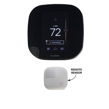 """<b>Ecobee</b></br> <p>The <a href=""""http://www.amazon.com/gp/product/B00NXRYUDA/ref=as_li_tl?ie=UTF8&camp=1789&creative=390957&creativeASIN=B00NXRYUDA&linkCode=as2&tag=familhandy-20&linkId=M4JWXVDX3OPQIALJ"""">Ecobee3 Thermostat</a> solves the No. 1 consumer complaint—that a room or level is always too hot or cold. The unit comes with a separate wireless sensor to install on that troublesome level or cold room. The sensor communicates with the main thermostat and adjusts heating or cooling to maintain a comfortable setting near the remote sensor. The unit also monitors system performance and alerts you if the furnace or A/C isn't keeping up with the demand.</p>"""