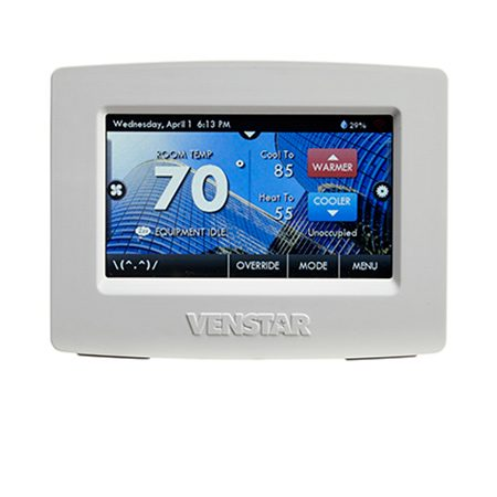 """<b>Venstar Colortouch</b></br> <p>The full-color touchscreen in the <a href=""""http://www.amazon.com/gp/product/B009AVRB1Q/ref=as_li_tl?ie=UTF8&camp=1789&creative=390957&creativeASIN=B009AVRB1Q&linkCode=as2&tag=familhandy-20&linkId=ZKOCF7HHSZFXFSFC"""">Venstar Colortouch</a> lets you match the screen color to your wall. Or, insert an SD card with your personal photos and turn the display into a digital photo frame. Add a duct temp sensor (that must be installed by a pro) and the unit alerts you if your heating system isn't performing at maximum efficiency.</p>"""