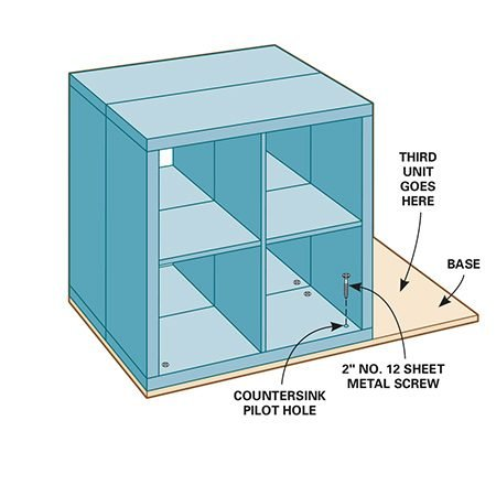 <b>Step 2: Fasten units to base</b></br> <p>Position two Kallax shelving units back to back and fasten them to the base with flat-head sheet metal screws after drilling countersink pilot holes through the Kallax frames. The frames are hollow panels, so be careful not to punch through their thin faces when drilling the countersinks. Make sure the screw heads sit flush.</p>