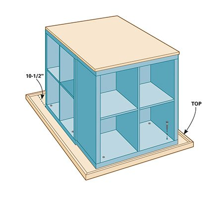 <b>Step 3: Fasten top</b></br> <p>Install the third Kallax unit across the front of the base, using the same method. Then tip the assembly over onto the top and fasten it as before.</p>