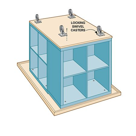 <b>Step 4: Attach casters</b></br> <p>Install locking swivel casters.</p>