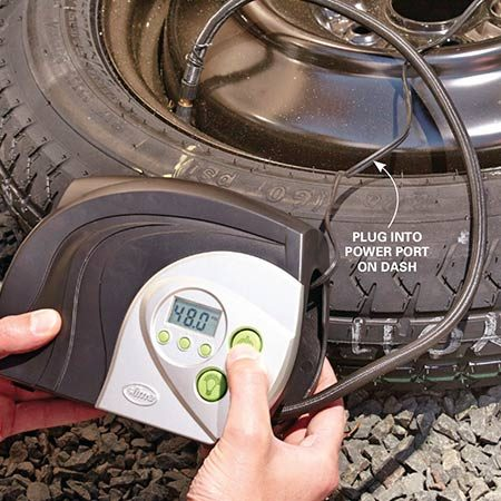<b>Underinflated spares are unsafe!</b></br> <p>If you don't routinely top off the air pressure in your spare tire, don't be surprised if it's severely underinflated when you need it. Driving on a severely underinflated full-size spare is unsafe, and driving on an underinflated space-saver spare is downright dangerous. Solve that problem by keeping a plug-in tire inflator in your vehicle at all times (one choice is the <a href='http://www.amazon.com/gp/product/B002ZBWKAU/ref=as_li_tl?ie=UTF8&camp=1789&creative=390957&creativeASIN=B002ZBWKAU&linkCode=as2&tag=familhandy-20&linkId=6CGOBBG3GZQGGKG7' title=' Slime 12-Volt Digital Tire Inflator, No. 40022' rel='nofollow' target='_blank'> Slime 12-Volt Digital Tire Inflator, No. 40022</a>, about $30 on amazon.com).</p>  <p>Start the engine, plug the unit into your power port and bring the spare tire up to the recommended pressure (found on the decal inside the driver's door area) before installing it on the hub.</p>