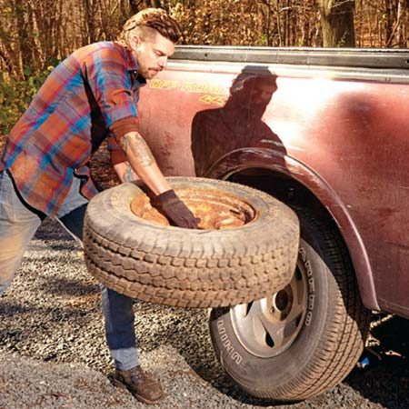 <b>Use the spare as a battering ram</b></br> <p>If you don't rotate your tires every 5,000 miles, your wheels may be bonded to the hub by rust. Here's a way to knock the wheels loose, submitted by one of our readers.</p>  <p>With the lug nuts loosened about three-quarters of the way, grab the spare by the center hole and use it as a battering ram. Swing it horizontally with all your might so it strikes the stuck wheel at the 12 o'clock position. Repeat the blows at the 3 o'clock and 9 o'clock positions until the wheel breaks free from the hub.</p>