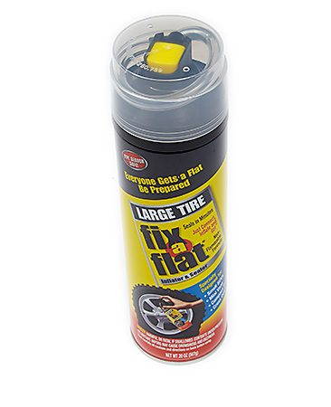 <b>Tire sealants</b></br> <p>If you're not confident that you or the driver can change a flat tire, buy two cans of aerosol tire sealer from any auto parts store (<a href='http://www.amazon.com/gp/product/B000BO5A3M/ref=as_li_tl?ie=UTF8&camp=1789&creative=390957&creativeASIN=B000BO5A3M&linkCode=as2&tag=familhandy-20&linkId=K7BMWA55YDS5OJBQ' title='Fix-a-Flat' rel='nofollow' target='_blank'>Fix-a-Flat</a> is one well-known brand) and keep them in the vehicle. The cans are sold in several sizes for compact, standard and truck-size tires. Tire sealants work on tread punctures 3/16 in. or less in diameter. They won't work on sidewall punctures, blowouts or any other catastrophic failures. You've got little to lose by trying sealant.</p>  <p>You can greatly increase your chances of a successful seal if you can find the puncture site and move the vehicle until the leak is facing down. If you see the culprit, don't remove it; it'll help seal the hole. If the can is frozen, thaw it with the defroster or floor heater vents until the contents move freely when shaken. Then fill the tire following the directions on the can. If the rim doesn't lift off the ground after using a second can, the puncture is too large to be sealed and you'll have to call for help.</p>  <p>Top off the air pressure as soon as possible. If you have a tire inflator on hand, do it now. This is a very temporary fix, so get the tire repaired professionally ASAP. Tire sealant must be removed within three days or 100 miles, whichever comes first. Inform the tire shop that you've used tire sealant so no one breathes in the propellants (not flammable, but not healthy either). The shop may charge extra for cleaning the sealant from the tire.</p>