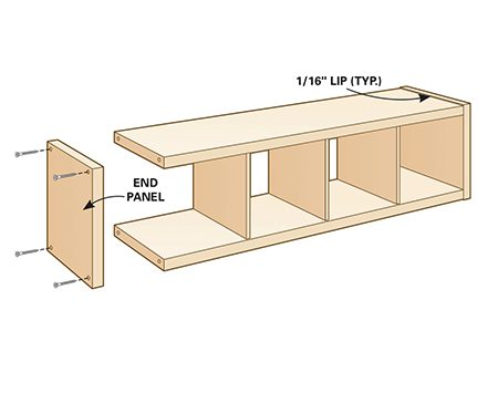 <b>Step 1: Remove end panels</b></br> <p>Notice that the end panels of the original assembled Kallax shelving unit protrude beyond the sides. Remove both panels.</p>