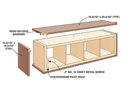 <b>Step 4: Attach plywood panels</b></br> <p>Cut hardwood plywood panels to wrap around the unit. Make the top and bottom panels long enough to cover the side panels, and cut the side panels to fit tightly between the top and bottom pieces. Cut all the panels wide enough to create a 3/16-in. lip around the front of the shelving unit. Adhere iron-on edge banding to these pieces.</p>  <p>Fasten the panels with flat-head sheet metal screws after drilling countersink pilot holes through the unit. The unit's frames are hollow, so be careful not to punch through their thin faces when drilling the countersinks. Make sure the screw heads seat flush.</p>