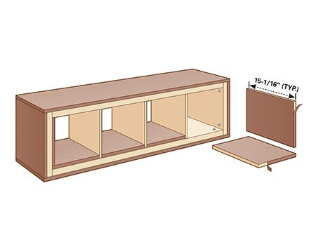 <b>Step 5: Install plywood inserts</b></br> <p>Cut plywood to cover the bottom and sides inside the unit. Don't fasten these pieces with screws; instead, go for a friction fit. Apply iron-on edge banding to the exposed edges.</p>