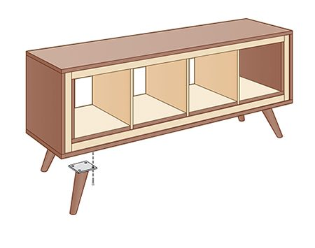 <b>Step 6: Attach legs</b></br> <p>Remove all the plywood parts to apply finish. Finish the legs too. Reinstall the panels and inserts—tack the inserts with small nails or brads. Then attach the legs.</p>