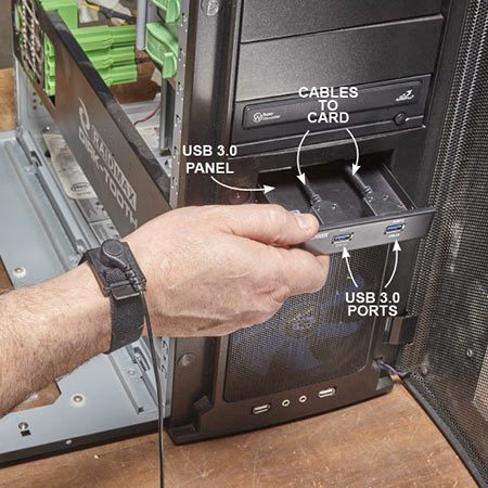 <b>Photo 3: Install the front panel</b></br> Pop out the plastic filler plate from the front of the computer. Then slide in the new panel and secure with screws. Connect the cables to the USB 3.0 card and reinstall the side cover.
