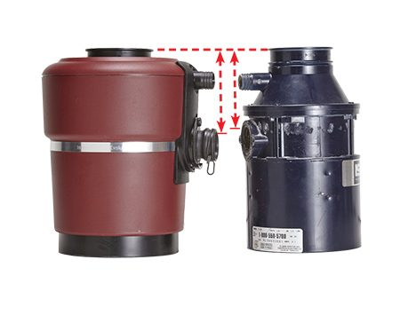 <b>Measure the distance</b></br> <p>A disposal's discharge tube must slant about 1/4 in. downhill in order for it to drain properly (see <b>Figure A</b>). Creating that drop may be a small problem if the outlet on your new disposal is lower than the outlet on your old one.</p>  <p>To be prepared, measure the distance from the outlet to the top of each disposal before you remove the old unit. If the new unit's outlet is lower, you must also lower the tee that the discharge pipe connects to. Loosen the two nuts that connect the tee to the tailpiece above and the trap below. Try lowering the tee to see if the tailpiece is long enough. If it's not, you'll have to replace it with one that's slightly longer.</p>