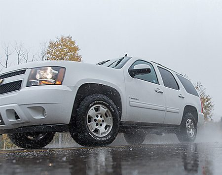 <b>Truck tires or passenger tires?</b></br> <p>Switching from truck to passenger tires can save you money, but probably not as much as you think. That's because you can't just install passenger tires that are the same size and load rating as your present truck tires. The load ratings for passenger tires apply only when they're installed on a passenger car. Trucks and SUVs have a higher center of gravity and place different stresses on tires, so you have to reduce a passenger tire's load rating by 9 percent. In other words, you have to buy a heavier-duty passenger tire, which usually requires moving up to a larger tire. Upsizing wipes out some of the savings you thought you could achieve by switching to passenger tires.</p> <p>But switching does provide at least one benefit—better ride quality. Passenger tires are smoother and quieter at highway speeds. If you use your truck or SUV more like a family car than a hauling vehicle and you drive it on paved roads, check out passenger tires. But rely on a tire pro to find the right tire for your vehicle.</p>