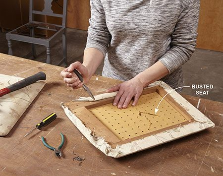 <b>Photo 1: Remove the old upholstery</b></br> Pry and yank the staples with a screwdriver and pliers or side cutters. Remove the upholstery and cushion material.