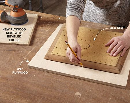 <b>Photo 2: Make a new seat</b></br> If the old seat is in bad shape, cut a new one from plywood. Trace around the old seat, then cut with a jigsaw or circular saw. Bevel or soften edges with a sander or router to match the old contour.