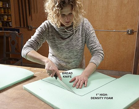 <b>Photo 3: Cut the foam</b></br> <p>Trace the outline of the seat onto 1-in.-thick foam. Cut the foam with a bread knife. To avoid tearing the foam, pull the knife toward you, using light pressure and short strokes.</p>  <p>Our seats, for example, were made from a pegboard-like material secured to a 1x3 framework, covered with horsehair padding. Someone had already reupholstered the chairs, going directly over the old fabric. Expect the unexpected and adjust your game plan accordingly.</p>
