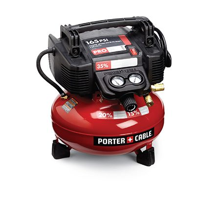 <b>Smaller, quieter and lighter (PORTER-CABLE NO. C2004)</b></br> <p>It looks a lot like its sister, the C2002, and carries the same cfm rating—but it's better in terms of weight, size and noise.</p> <p>specs: $180 | 2.6 cfm | 29 lbs. | 75.5 dB | 4-gal. tank | 165 psi | Cord wrap | Ball valve drain | 2 outlets</p>