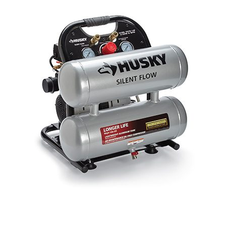 <b>Large tanks and low noise (HUSKY NO. 4610A)</b></br> <p>Notably quiet, this model stores lots of air in its corrosion-resistant aluminum tanks. It's large, relatively heavy and not fully shrouded.</p> <p>specs: $199 | 2.1 cfm | 44 lbs. | 68 dB | 4.6-gal. tank | 125 max psi | Ball valve drain | 2 outlets</p>