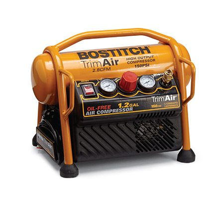 <b>Big power in a small package (BOSTITCH Trim-Air NO. CAP1512-OF)</b></br> <p>TThe high cfm, compact size and sturdy roll bars make this a great compressor. The manufacturer doesn't provide a dB rating, but we found it louder than most other models.</p> <p>specs: $135 | 2.8 cfm | 23.5 lbs. | dB not given | 1.2-gal. tank | 150 max psi | Cord wrap | Ball valve drain</p>