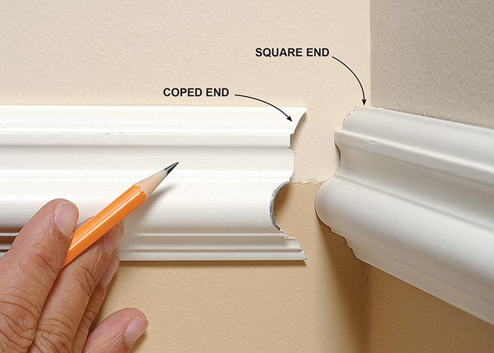 <p><b>What's a coped corner?</b></p> <p>In a coped corner, one molding has a square cut on the end that butts up against the wall. The other molding has a coped cut that fits perfectly against the face of the first molding.</p>