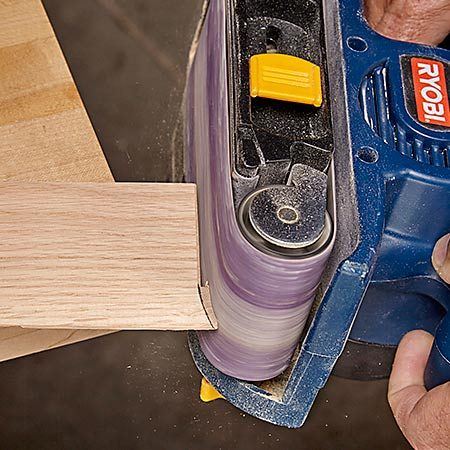 <b>Cope with a belt sander</b></br> With simple ranch-style moldings, you may not need a coping saw at all. Cut the straight section with a miter saw, then cope the curve with the rounded nose of a belt sander. Belt sanders also help out on some styles of crown molding.