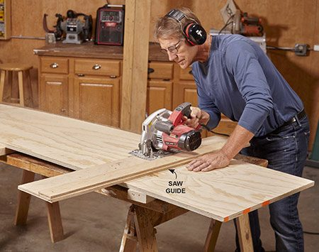 <b>Photo 2: Cut the plywood panels</b></br> With homemade saw guides, perfect cuts are a cinch.