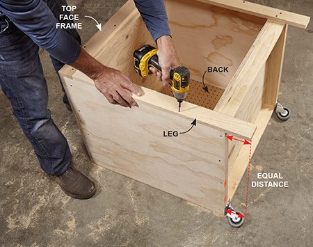 <b>Photo 5: Attach the face frame</b></br> Cut the face frame legs so they extend beyond the bottom of the cabinet the same distance as the casters. Also install the cabinet's back.