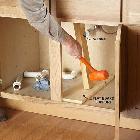 <b>Wedge the sink</b></br> Lay a flat board across the cabinet bottom. Then angle a 2x4 between the sink basins and the board. Tap it so it pushes up against the sink bottom.