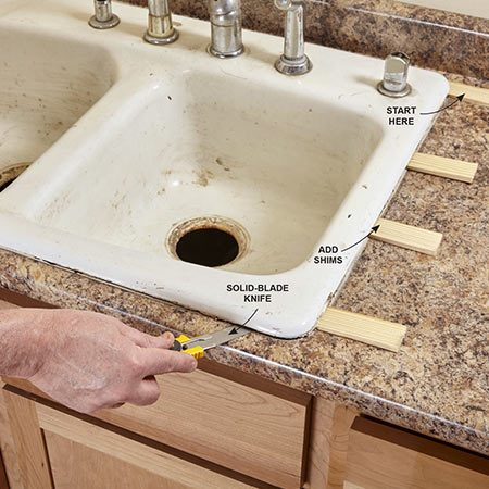 <b>Cut and shim</b></br> Slice through the caulk with a utility knife if possible. If the caulk is too hard to cut, use a putty knife like a chisel to cut through the caulk. To lift the sink, tap in shims as you go. Then cut along the front edge of the sink and up the opposite side.