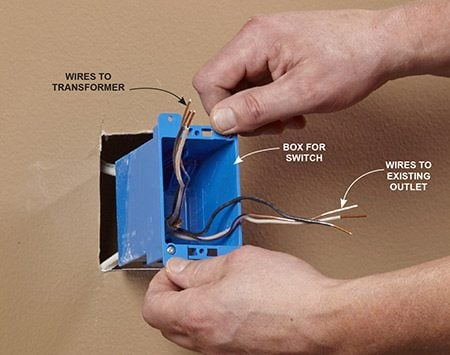 <b>Photo 6: Install the new boxes</b></br> <p>Pull back the sheathing, strip the end of the wires, and pull wires into the remodel boxes before inserting them in the holes and clamping to the drywall.</p>
