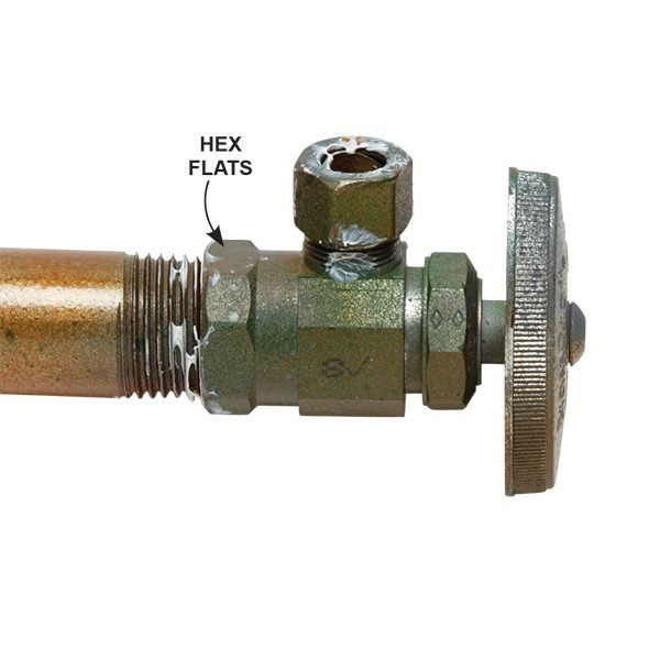 <p><b>Threaded Valve:</b> Look for threads and hex flats where the steel pipe enters the valve.</p>